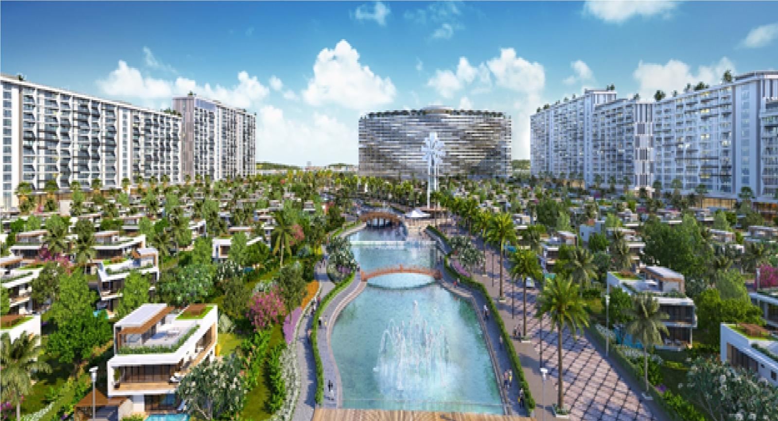 Hình phối cảnh biệt thự nghỉ dưỡng, condotel và khách sạn nằm hai bên một hồ nước, xen kẽ là nhiều cây xanh