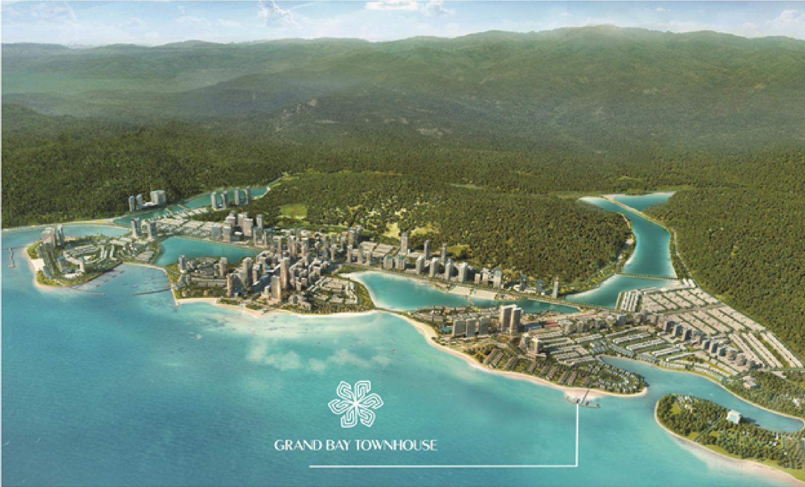 Ảnh phối cảnh một dự án bất động sản nằm ven biển, xung quanh là các mảnh xanh