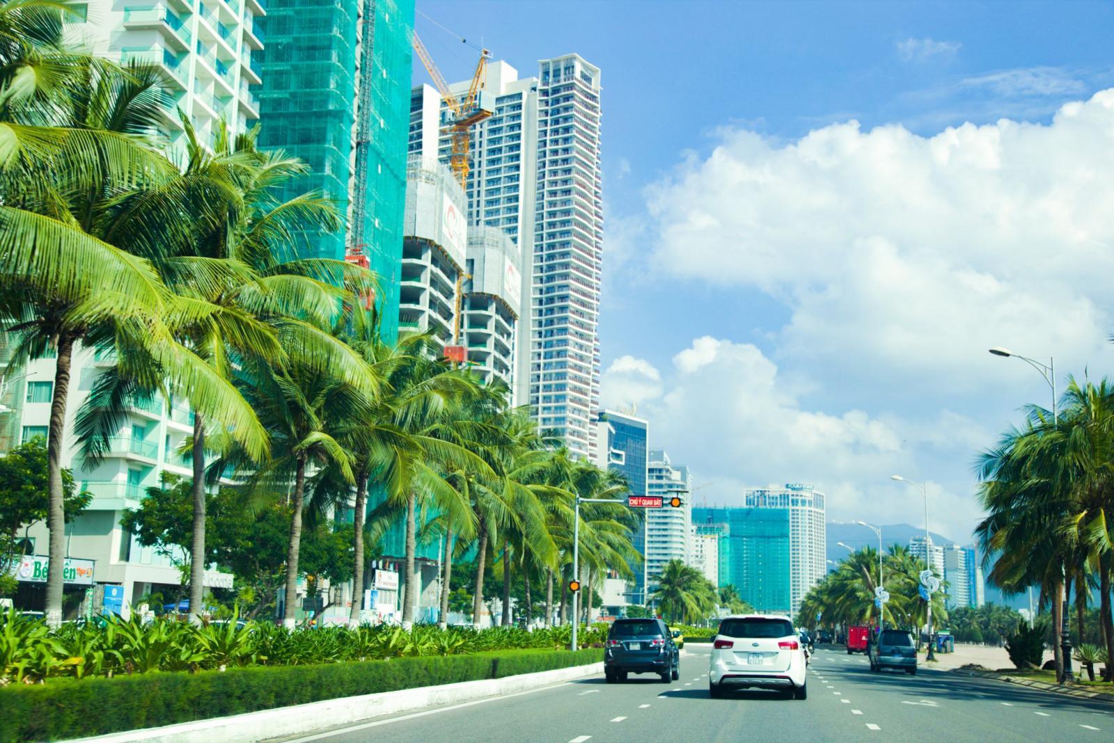 Ảnh chụp một đoạn đường có vài chiếc ô tô đi lại, bên đường là hàng dừa xanh mát và các tòa nhà cao tầng