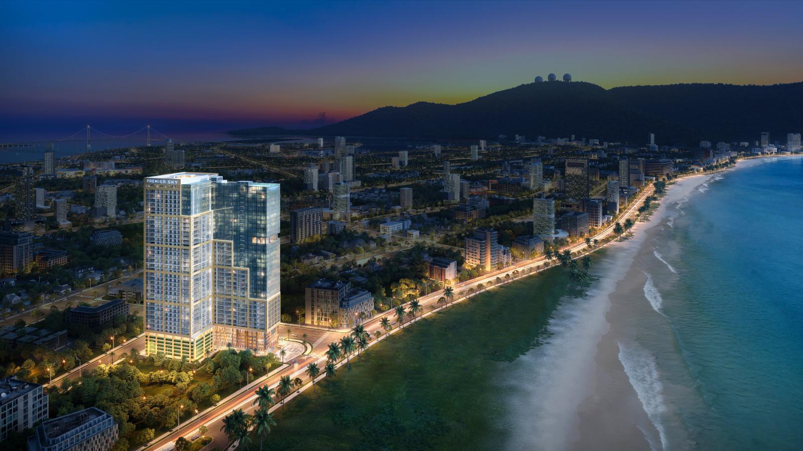 Ảnh phối cảnh nhiều dự án bất động sản nằm sát biển, xen kẽ là cây xanh