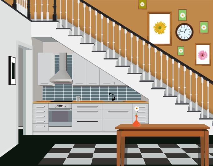 Bản vẽ một cầu thang màu trắng trên nền tường vàng, một số bức tranh, đồng hồ, dưới gầm thang là khu bếp.