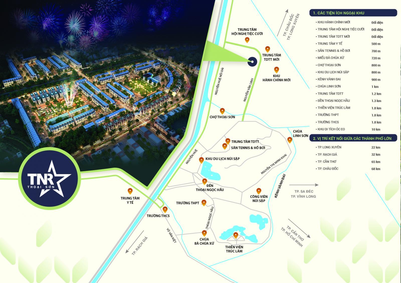 nhiều dãy nhà ở ban đêm, bên cạnh là sơ đồ vị trí dự án có nhiều tuyến đường