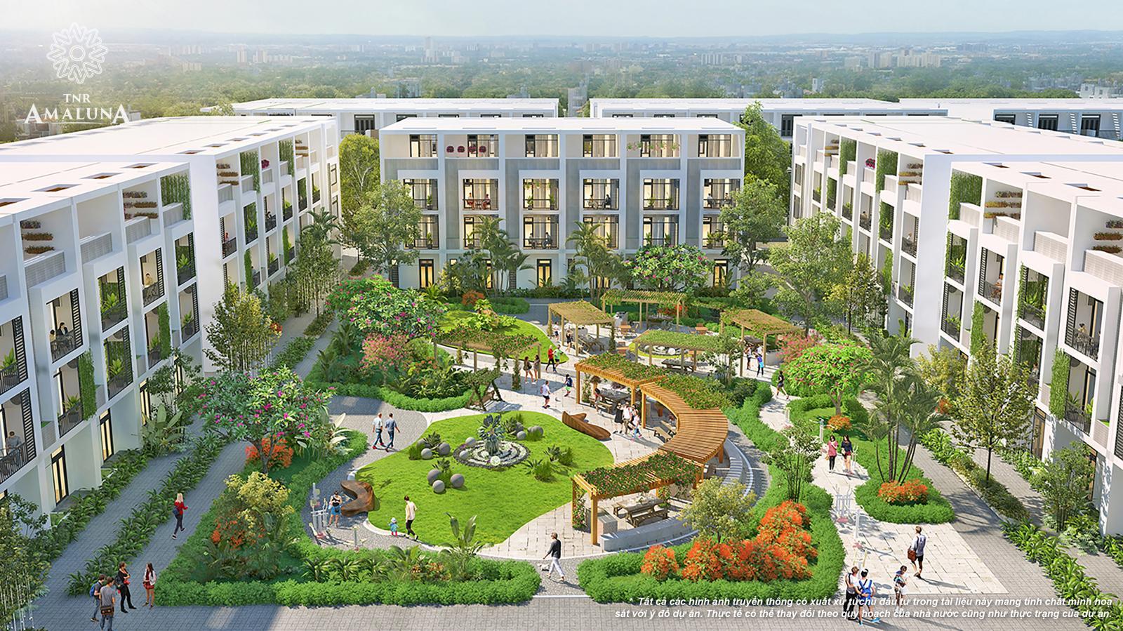 Hình phối cảnh khu công viên nhiều cây xanh nằm giữa 3 dãy nhà