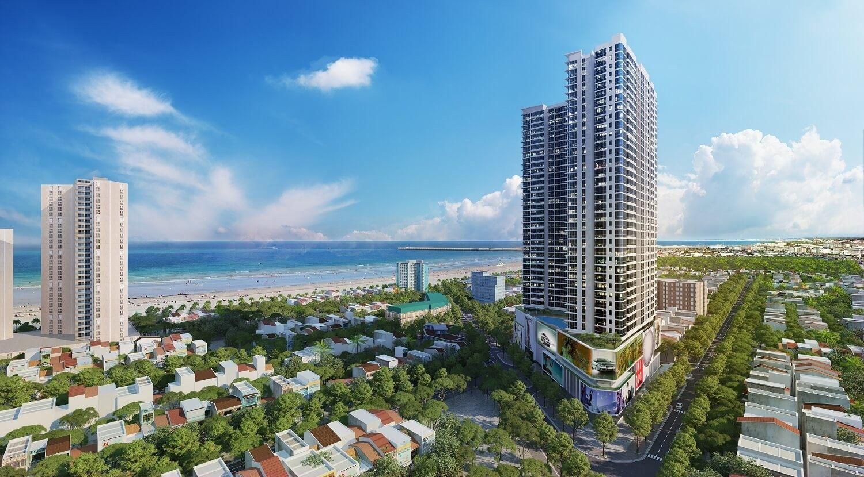 dự án condotel với tòa nhà cao tầng nhìn ra biển, xung quanh có các công trình nhà ở thấp tầng và nhiều cây xanh