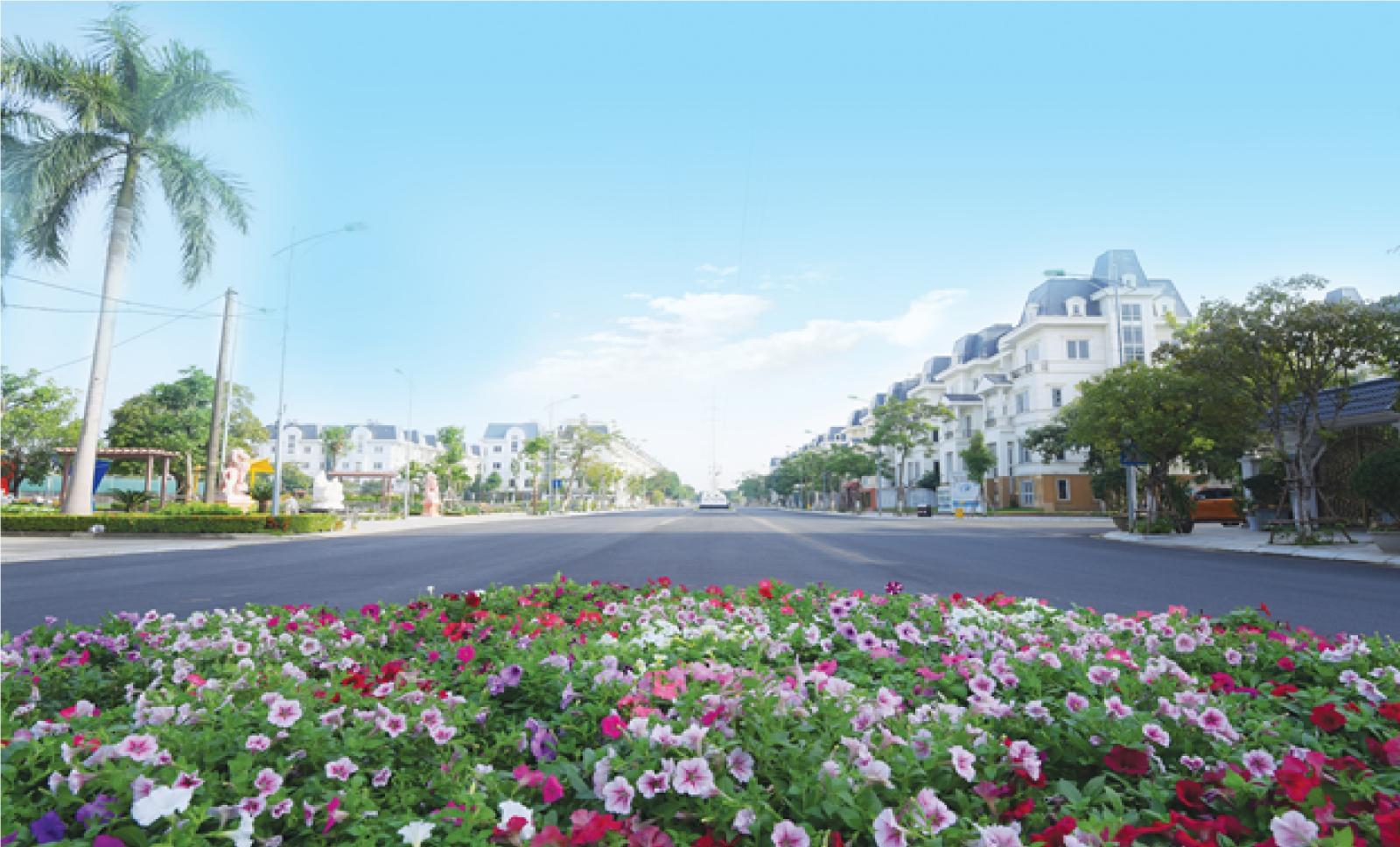 Ảnh chụp một vườn hoa nhỏ, phía trước là con đường, hai bên đường là các công trình nhà ở