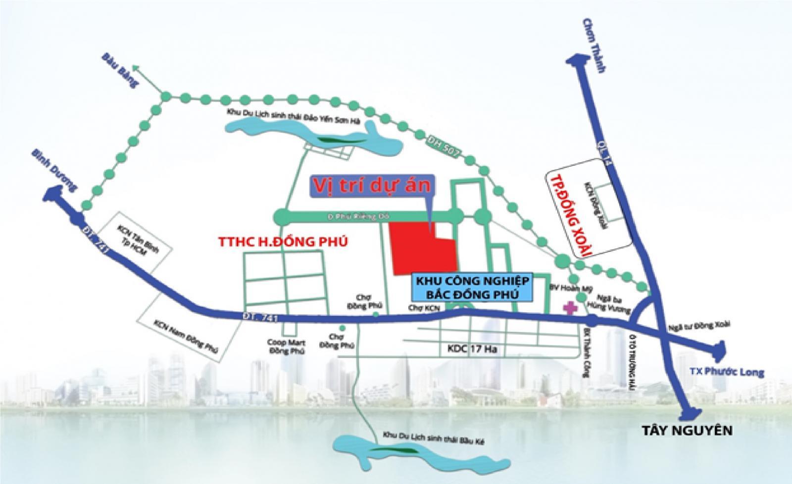 Bản đồ dự án với các đường màu xanh dương, xanh lá cây, chữ màu đỏ và đen