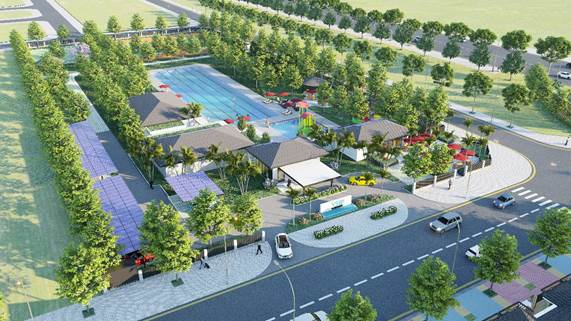 Phối cảnh dự án Sun Casa Central nằm sát mặt đường có nhiều ô tô qua lại, xen kẽ là nhiều cây xanh