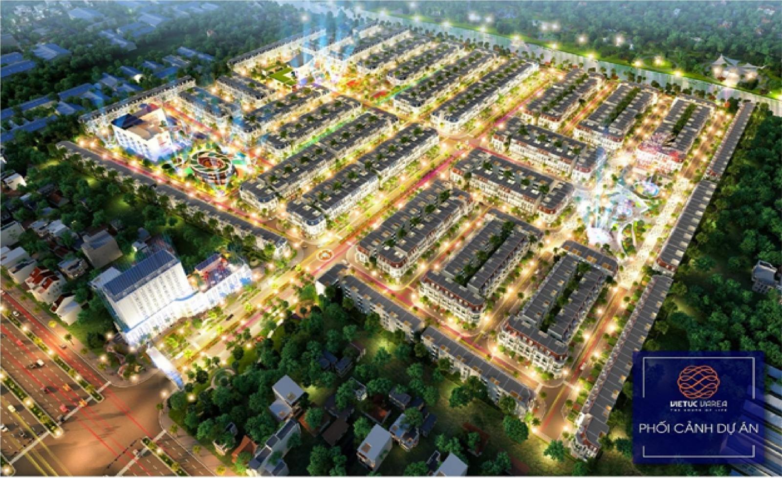 Phối cảnh đêm một dự án bất động sản nằm trong khu dân cư với nhiều cây xanh