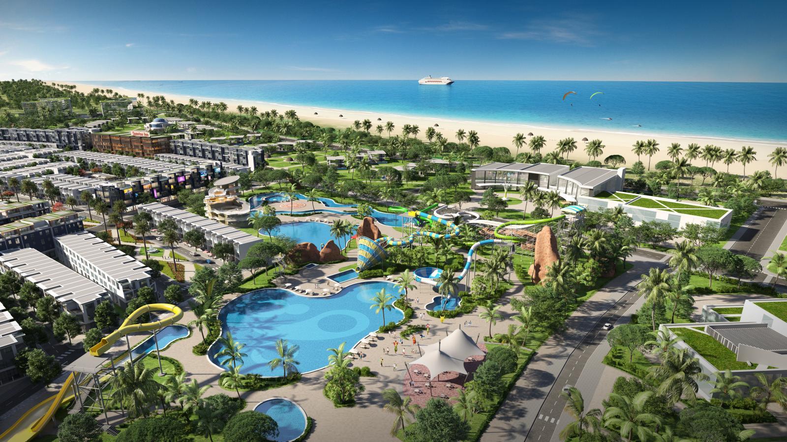 Phối cảnh một dự án bất động sản nằm sát biển với công viên nước và cây xanh