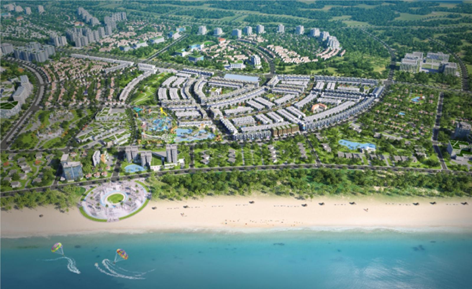 Phối cảnh dự án bất động sản nằm sát biển, xen kẽ là nhiều cây xanh