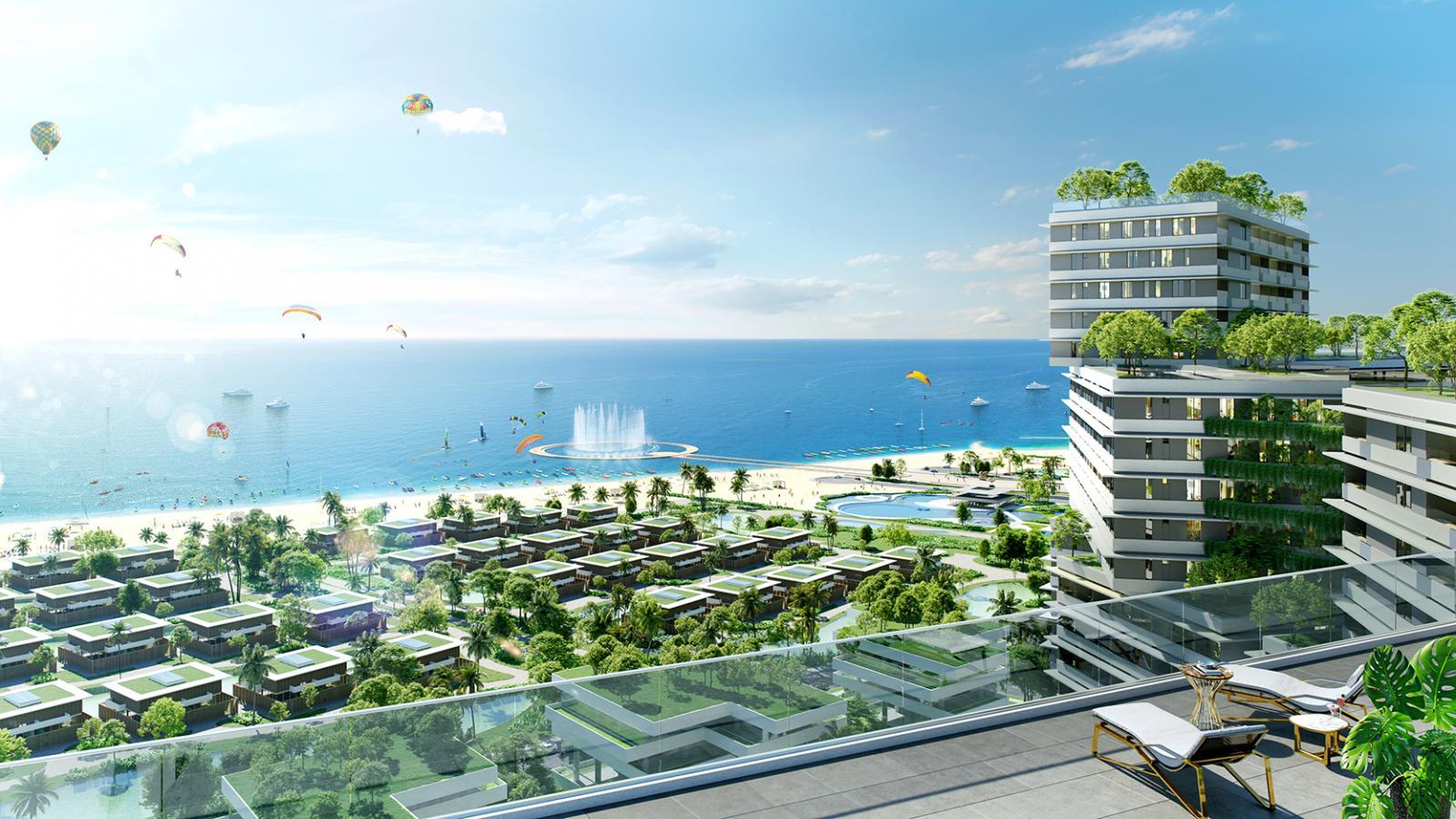 Phối cảnh một dự án nghỉ dưỡng nằm ven biển với nhiều cây xanh