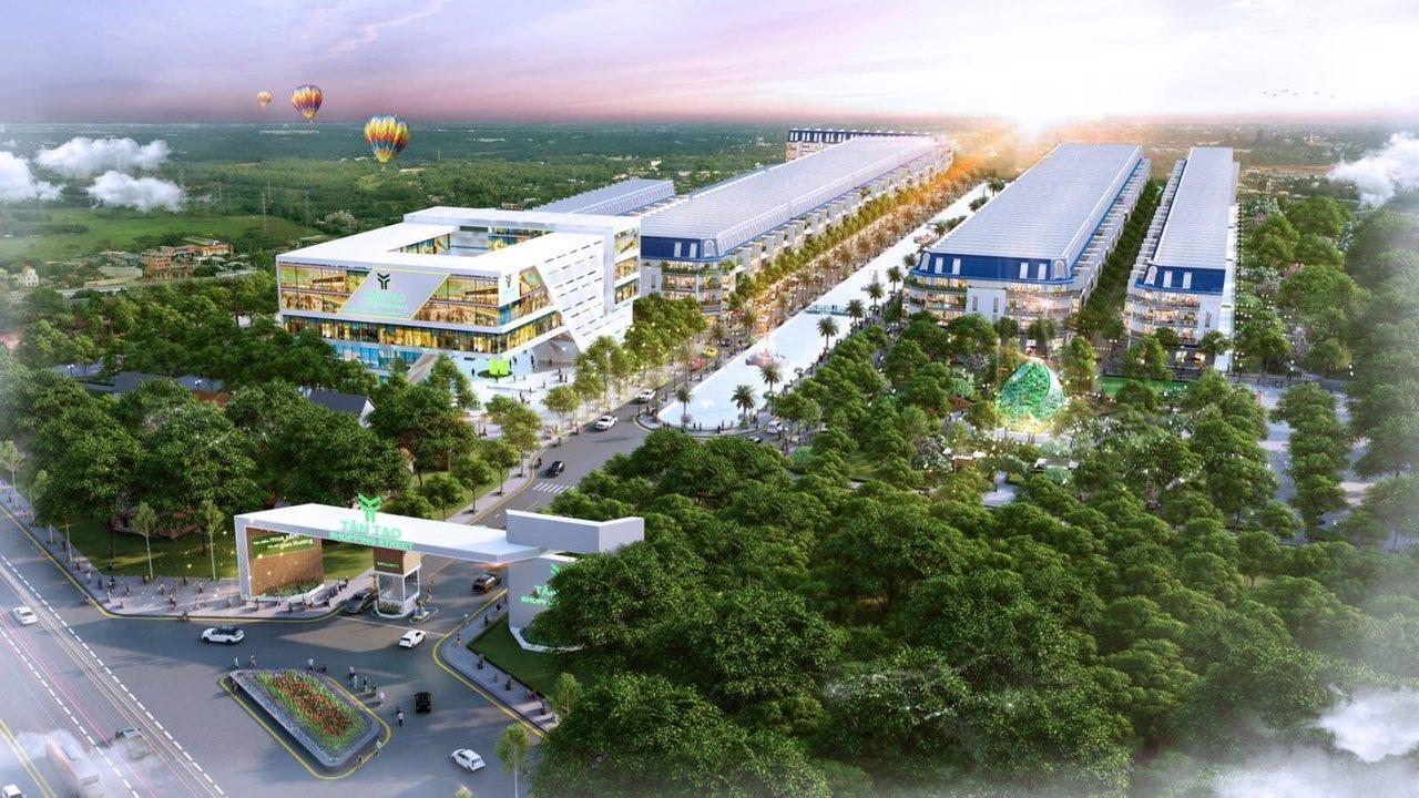 Phối cảnh một dự án nhà phố thương mại nằm trong khu vực có nhiều cây xanh