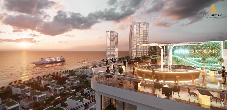 Phối cảnh một dự án bất động sản nằm sát biển, trên biển có 1 con tàu