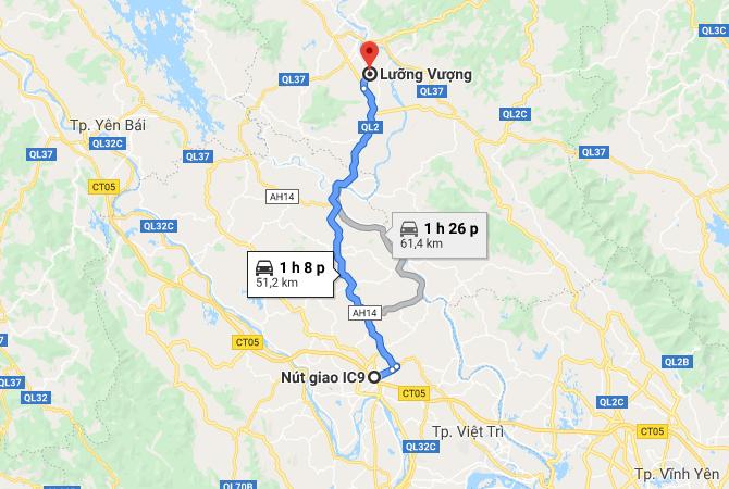 Biểu đồ thể hiện hướng tuyến Cao tốc Tuyên Quang - Phú Thọ với đường xanh đậm