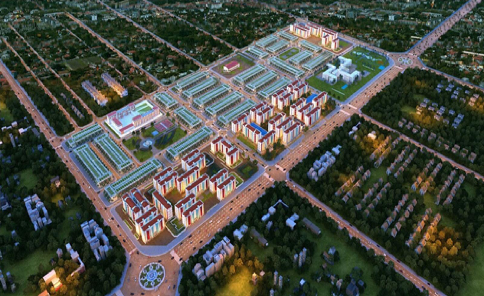 Phối cảnh dự án bất động sản nằm trong khu dân cư đông đúc với các tuyến đường lớn và nhiều cây xanh