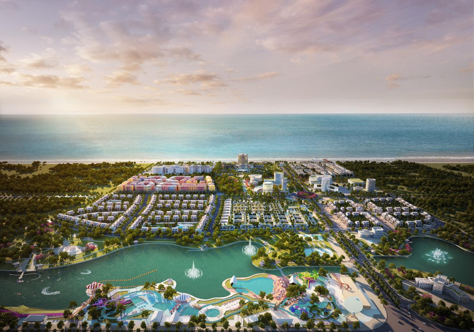 Phối cảnh một dự án nghỉ dưỡng ven biển có công viên nước