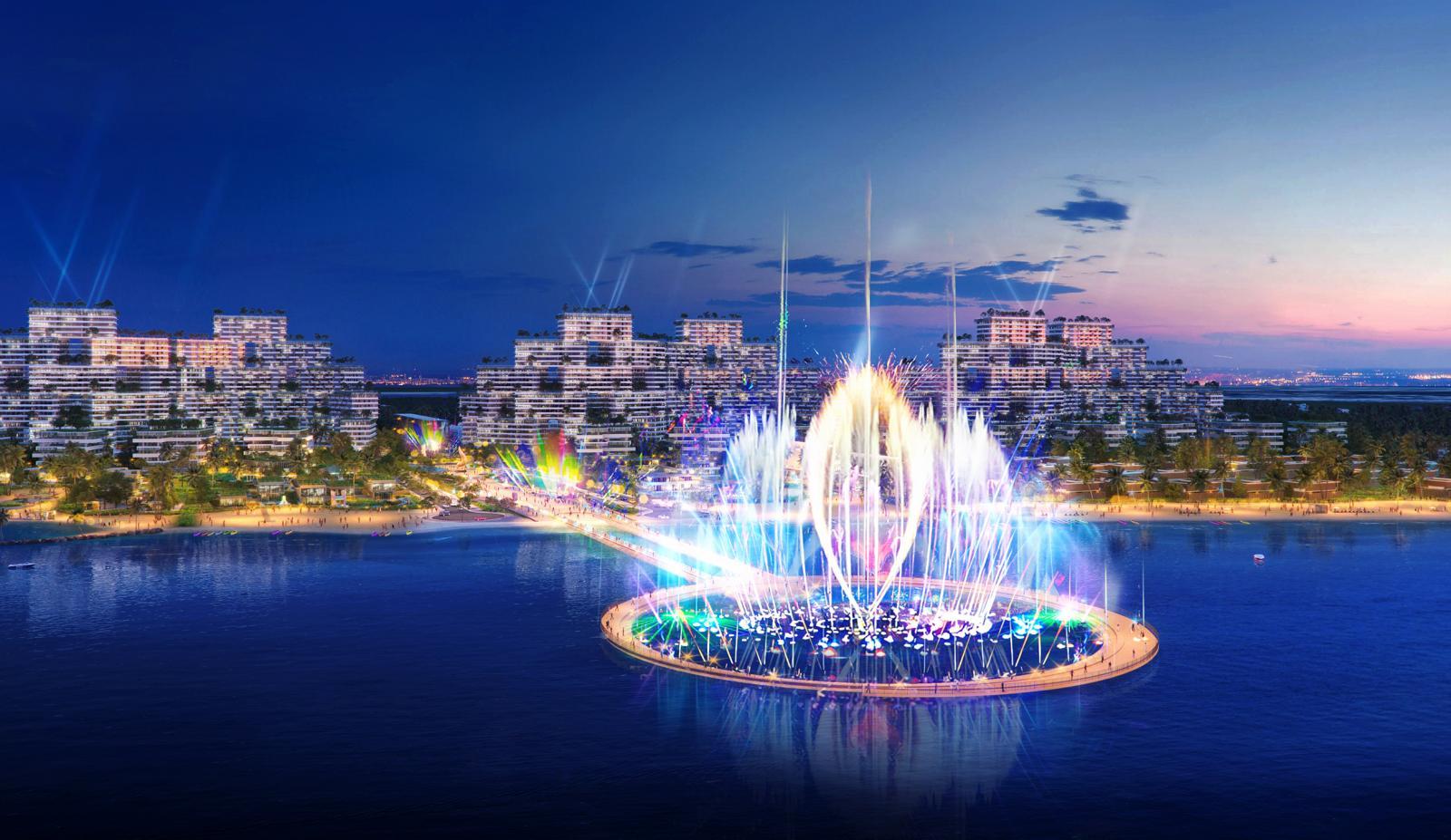Một dự án nghỉ dưỡng ven biển với công trình nhạc nước lung linh sắc màu