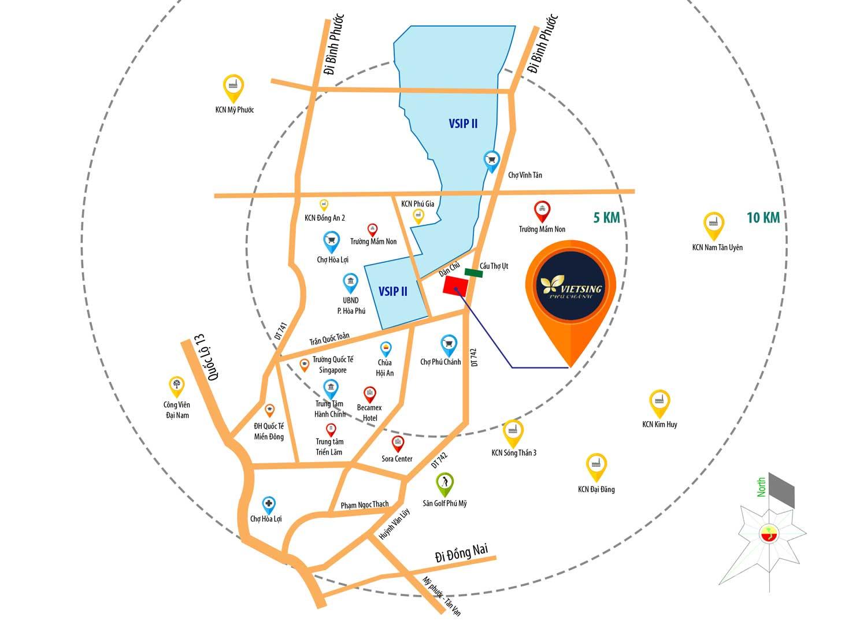 Vị trí dự án Khu nhà ở VietSing - Phú Chánh trên bản đồ