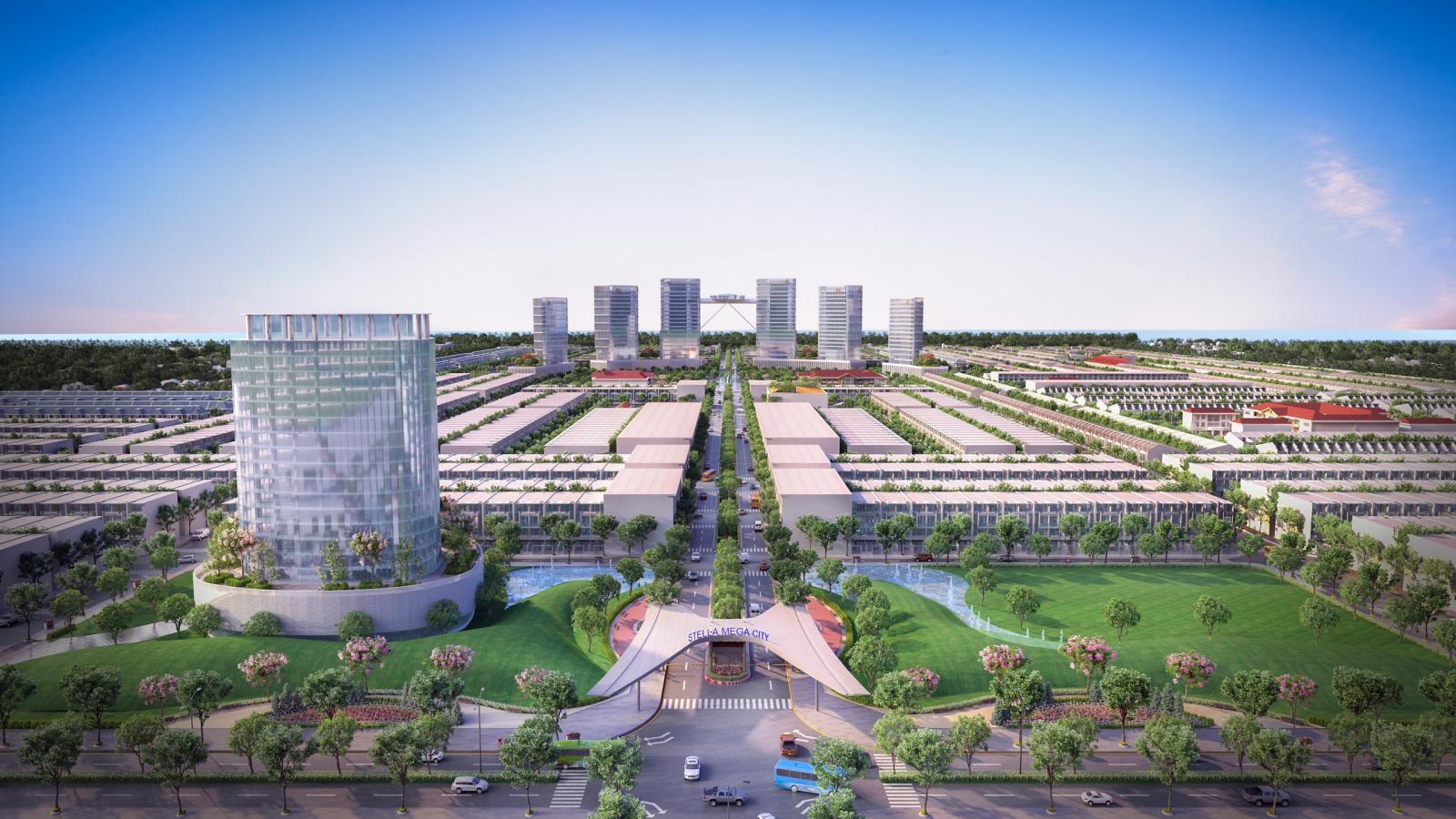 Phối cảnh một dự án bất động sản nằm gần mặt đường với nhiều cây xanh