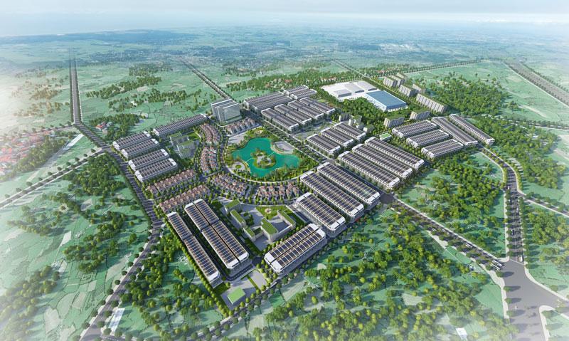 Phối cảnh dự án khu đô thị vời hồ trung tâm và nhiều dãy nhà xung quanh