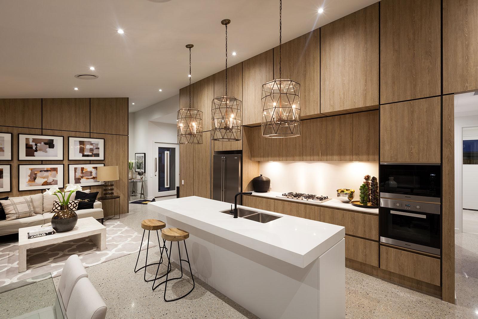 thiết kế bếp kết hợp phòng khách