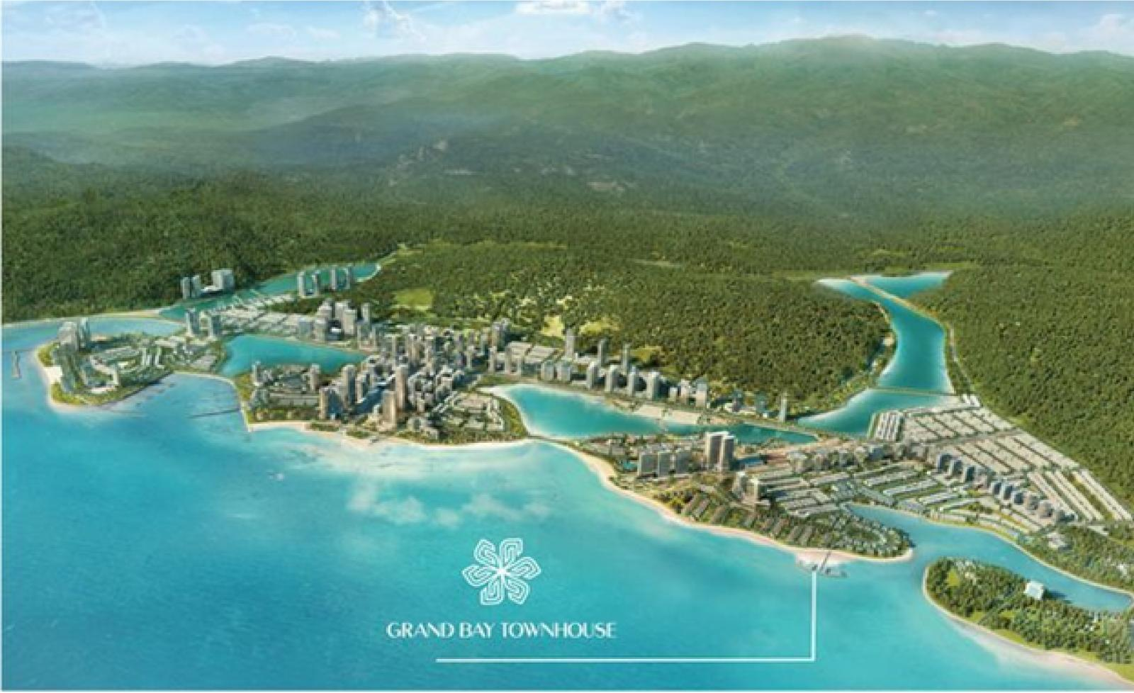 Phối cảnh một quần thể dự án nằm sát biển, phía sau có nhiều cây xanh