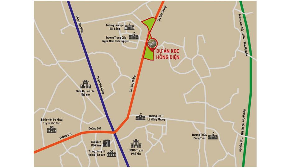 Sơ đồ vị trí dự án Khu đô thị Hồng Diện