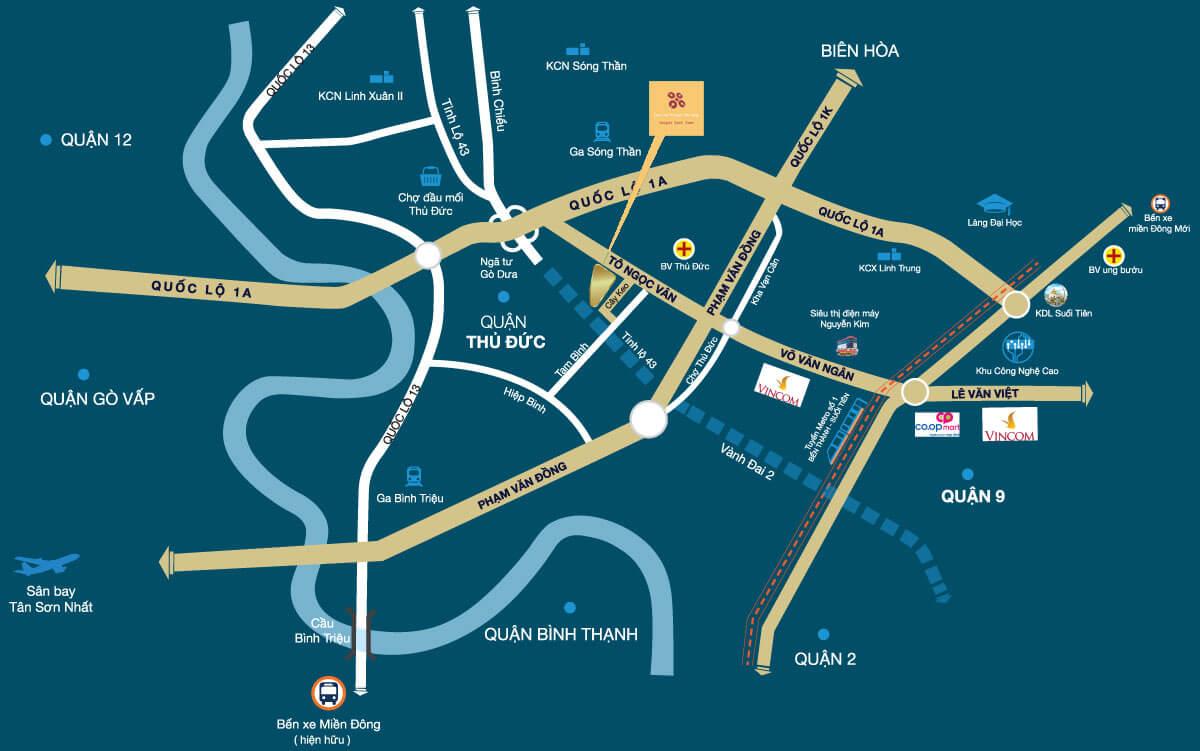 Vị trí dự án Prosper Phố Đông trên bản đồ