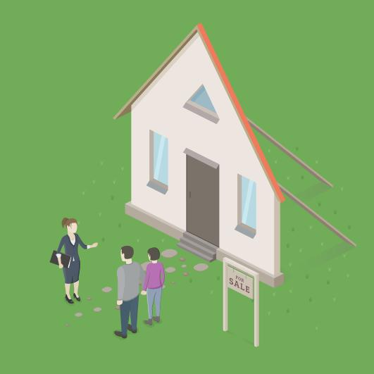 Hình ảnh ngôi nhà và 3 người đang đứng trước ngôi nhà