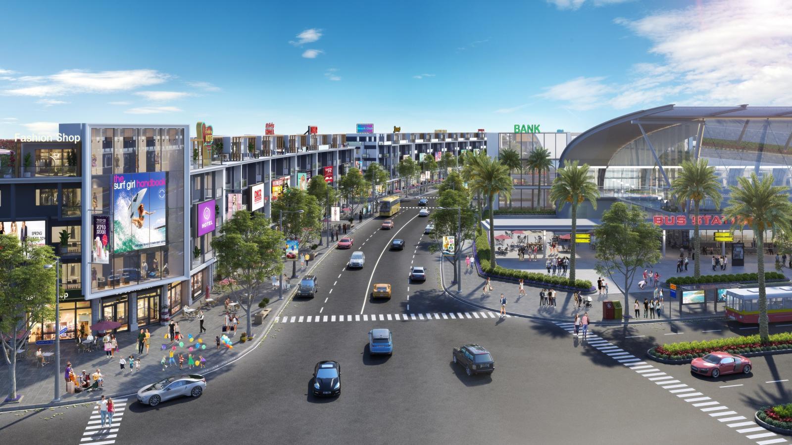 Phối cảnh khu đô thị ven biển gồm những dãy nhà liền kề nằm cạnh một con đường lớn.