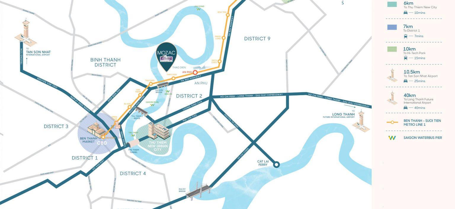 Vị trí dự án Căn hộ Mozac Thảo Điền trên bản đồ