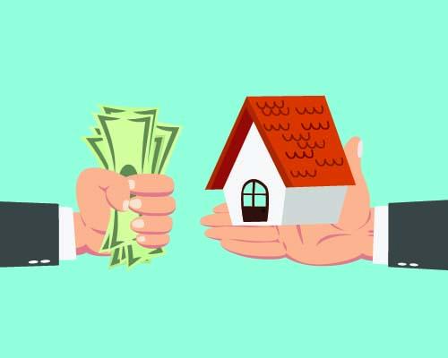 một bàn tay cầm tiền, một bàn tay cầm mô hình ngôi nhà