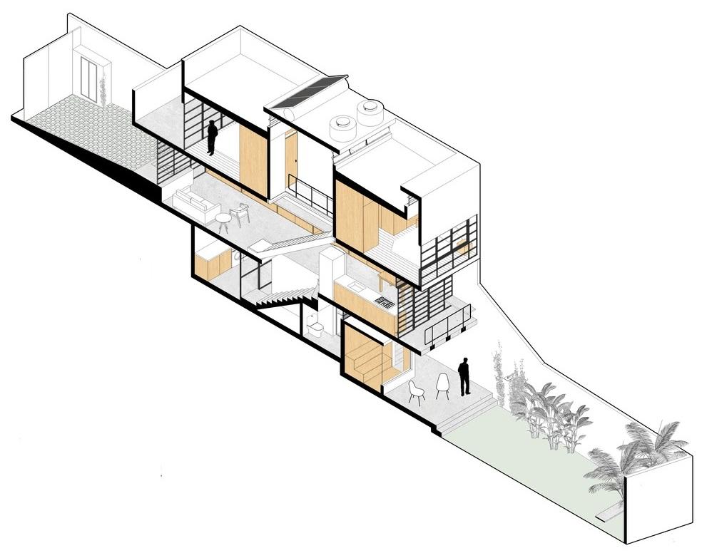 Giải pháp lấy sáng đáng học hỏi trong ngôi nhà sâu hun hút có mặt tiền chỉ 3m
