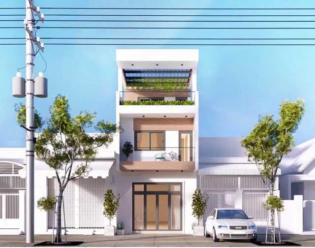 nhà phố 2 tầng 1 tum màu trắng, nâu kết hợp