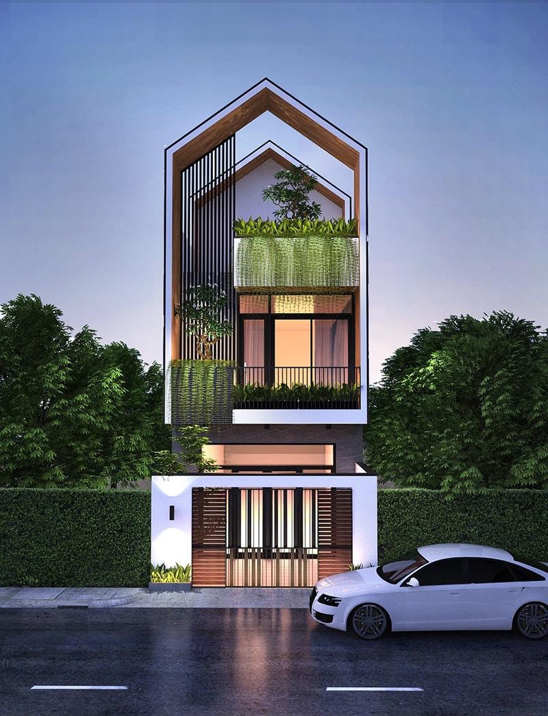 nhà phố 2 tầng với thiết kế 2 mái Thái tách biệt