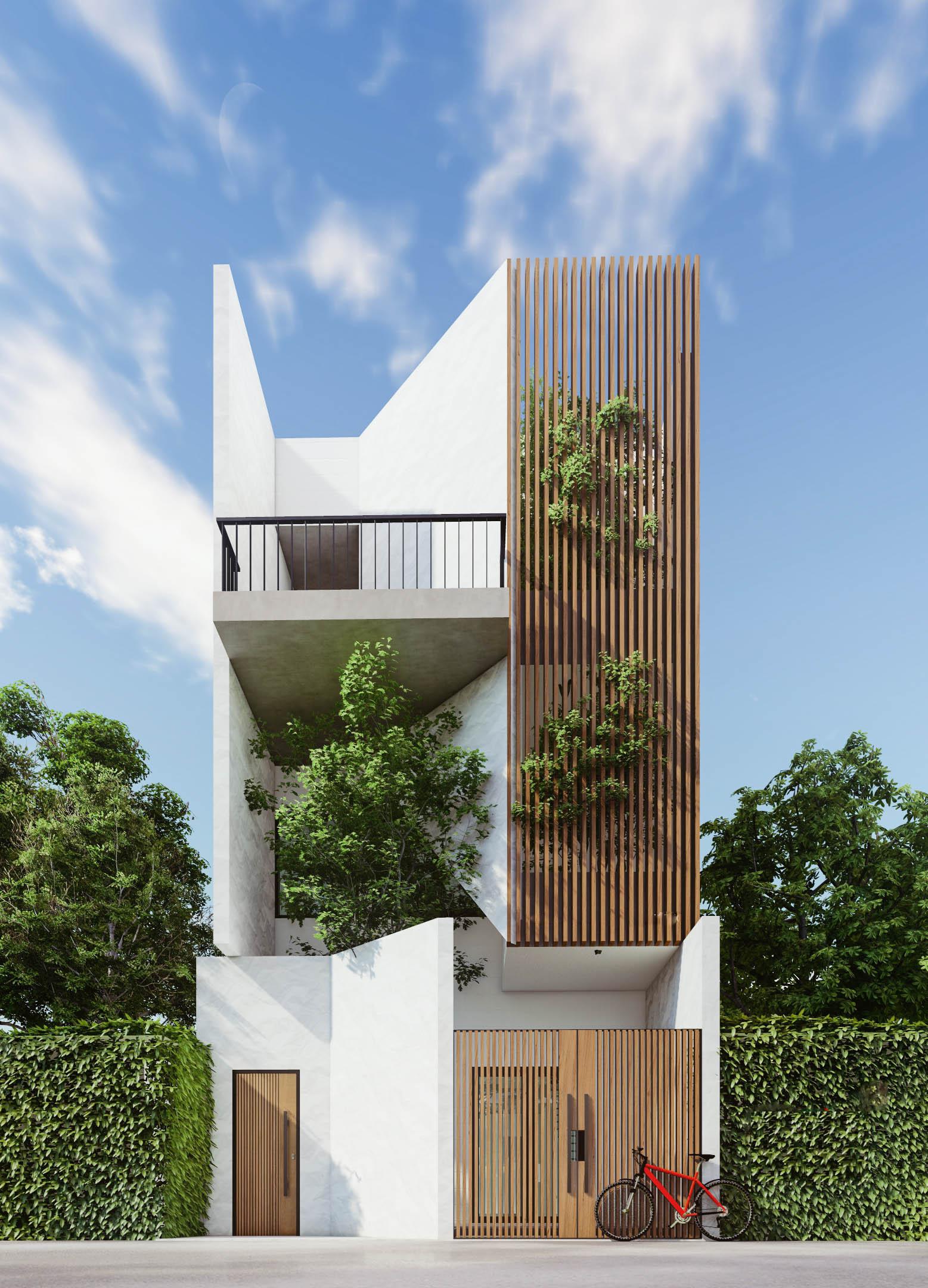 nhà phố 2 tầng với kiến trúc mái xéo