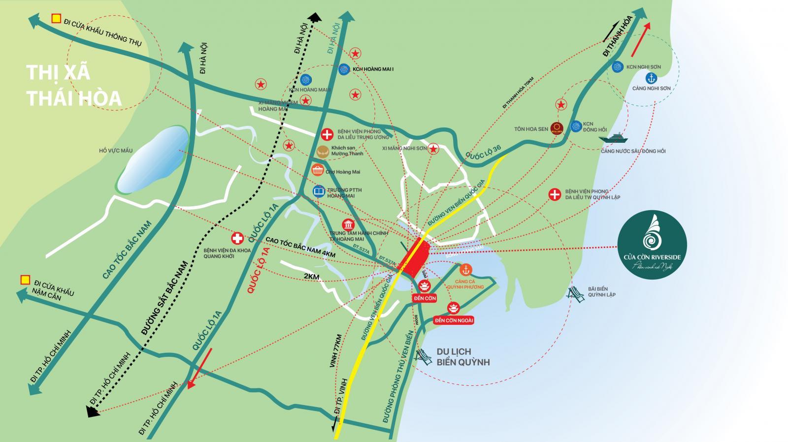 Bản đồ với ký hiệu con đường là những mũi tên màu xanh, chữ đen - đỏ