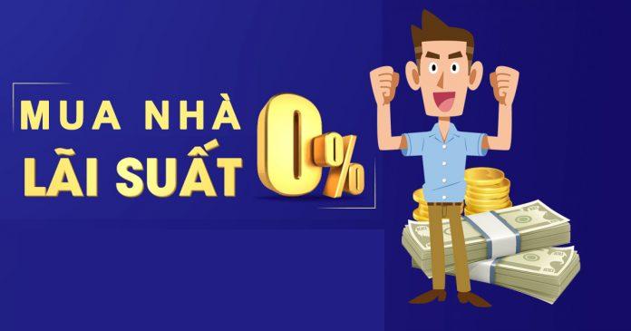 """Hình ảnh người đàn ông đứng giơ hai tay, bên cạnh là 2 cọc tiền vàng và dòng chữ """"mua nhà lãi suất 0%"""""""