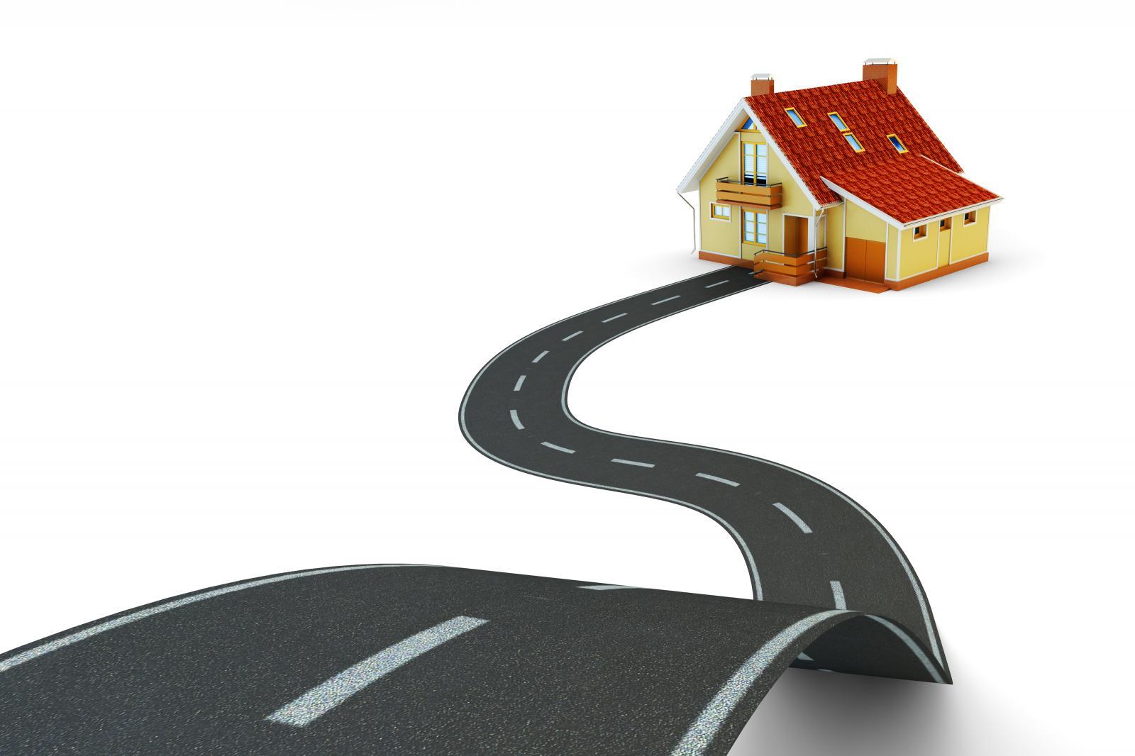 Hình ảnh con đường và ngôi nhà mái đỏ