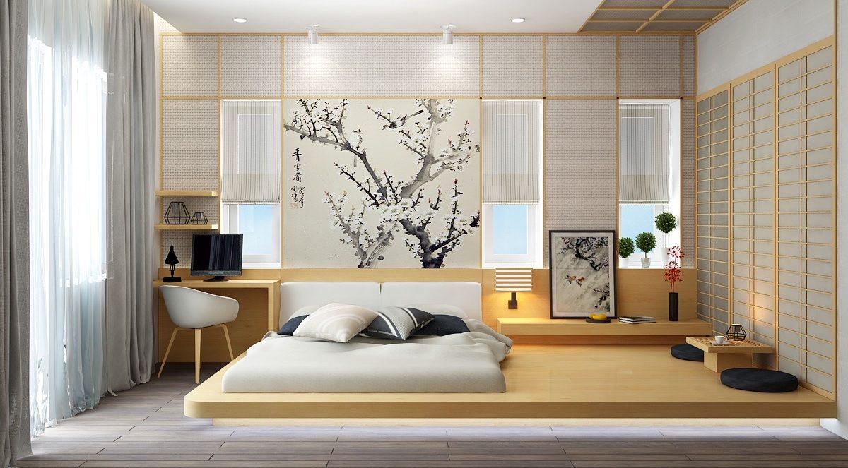 phòng ngủ phong cách Nhật được thiết kế đơn giản