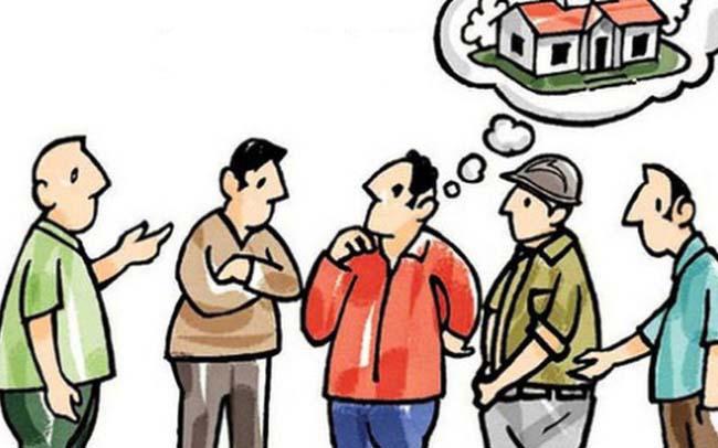 Hình vẽ 5 người đàn ông đang đứng trao đổi về việc xây nhà.