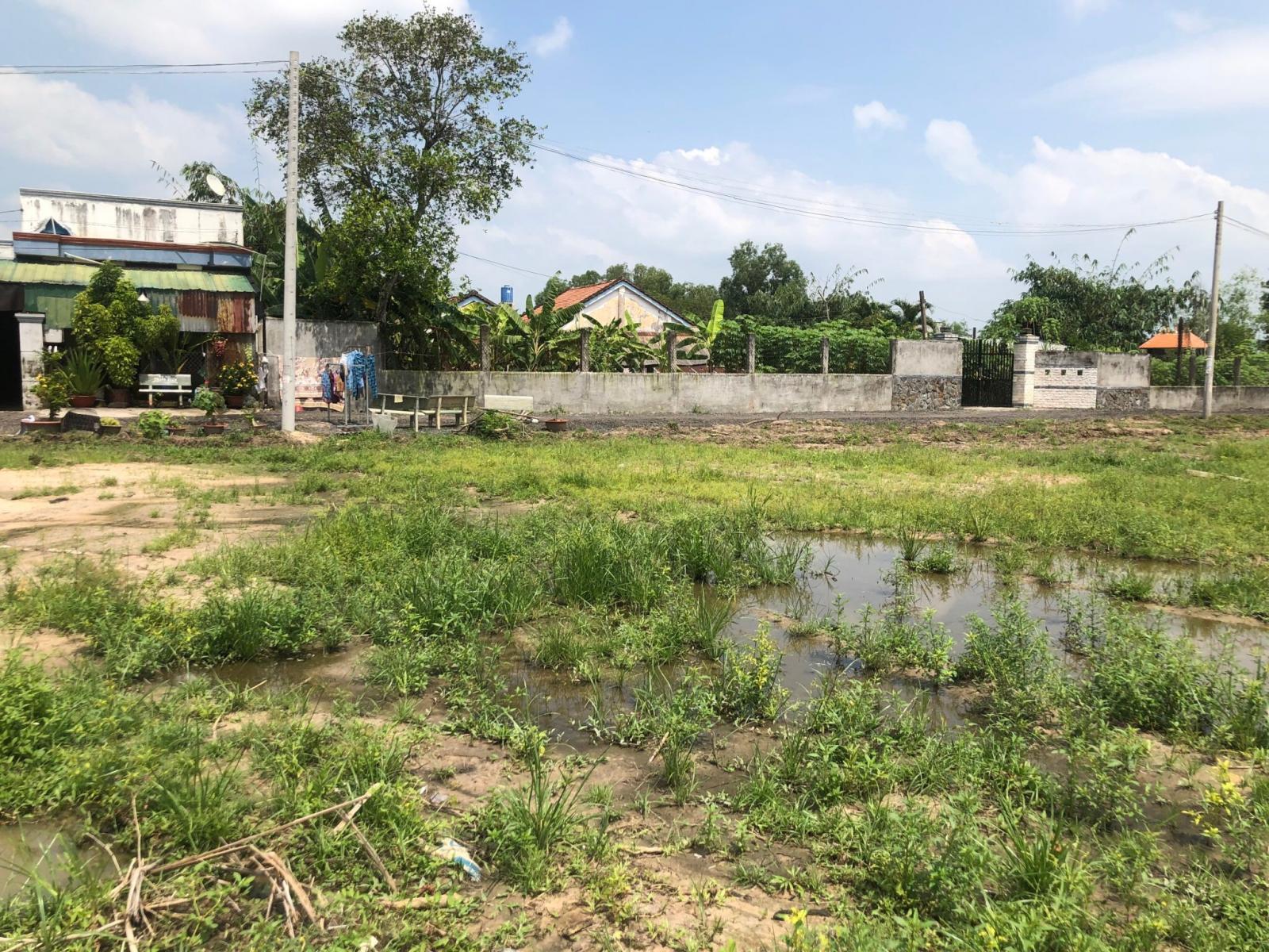 Khu đất nền để trống phủ đầy cỏ, xung quanh là những ngôi nhà.