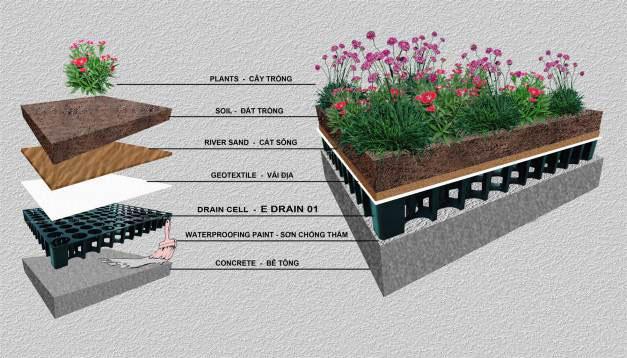 cấu tạo các lớp vườn trên mái gồm 7 lớp