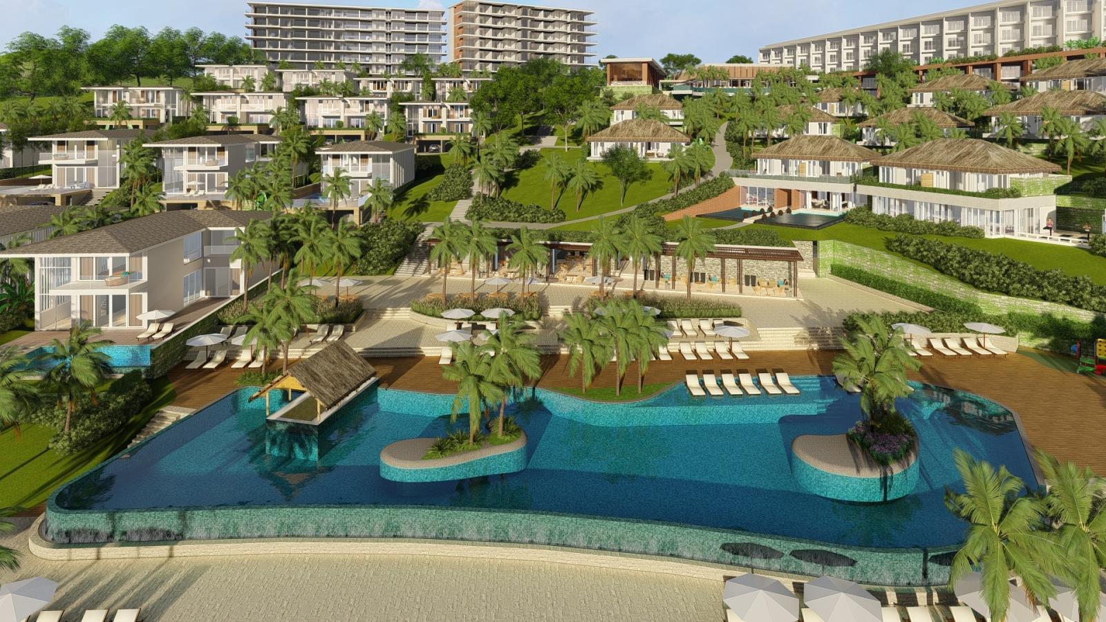 dự án bất động sản nghỉ dưỡng gồm nhiều biệt thự có cây xanh xen kẽ