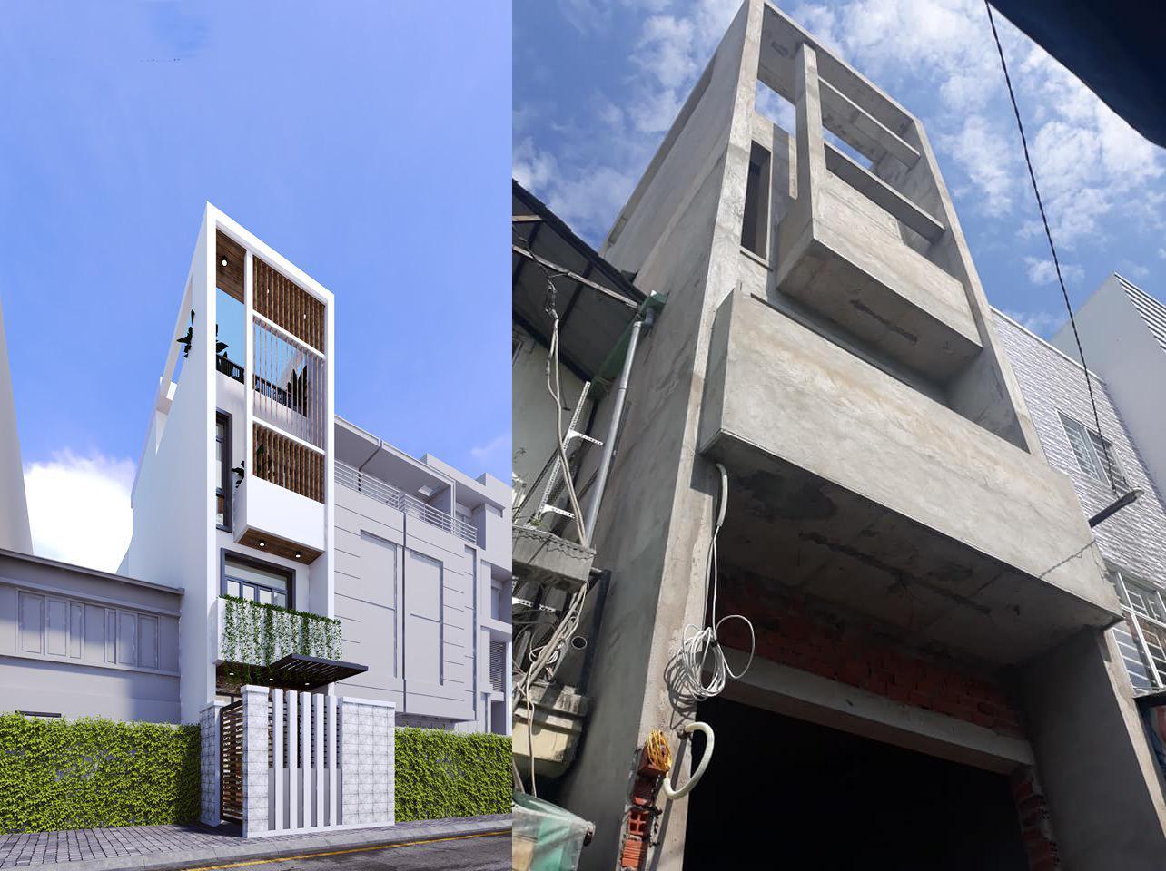 ảnh thiết kế và ảnh thực tế ngôi nhà