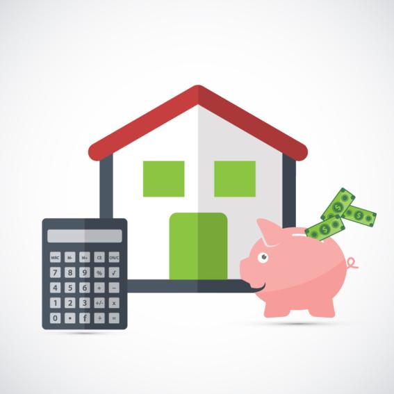 Hình ảnh ngôi nhà, máy tính cầm tay, con lợn tiết kiệm và 2 đồng tiền