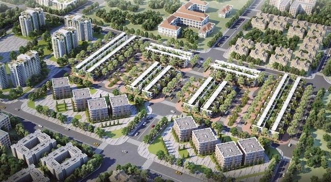 Các công trình nhà ở cao tầng và thấp tầng nằm xen kẽ với cây xanh