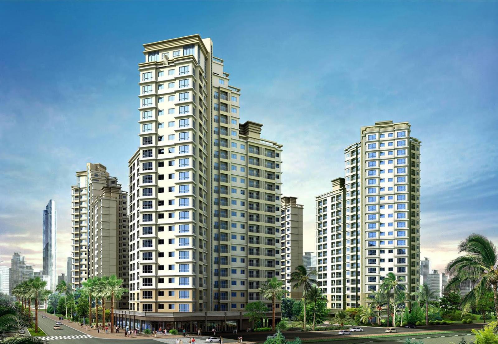 Phối cảnh một dự án chung cư gồm nhiều tòa nhà cao tầng, xung quanh có đường đi và cây xanh.