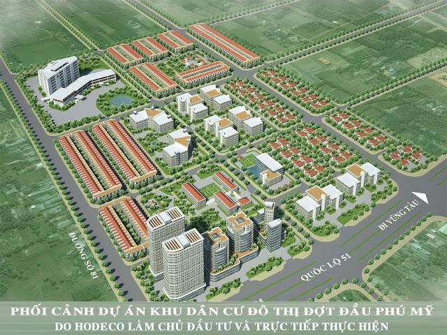 Phối cảnh dự án khu chung cư gồm nhiều dãy nhà cao tầng nằm cạnh đường lớn