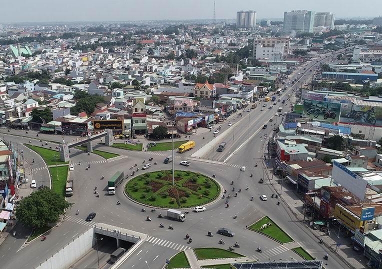 một góc tỉnh Đồng Nai có nhiều nhà ở, đường lớn khi nhìn từ trên cao